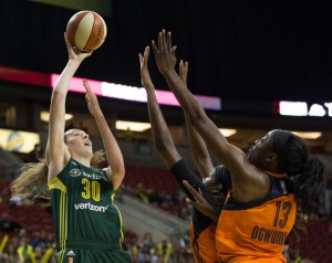Breanna Stewart shoots over the double team. Stewart finished with 11 points and five rebounds. (Neil Enns/Storm Photos)