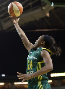 Jewell Loyd goes in for the break-away layup. Loyd lead all scorers with 26 points, including three of six from beyond the arc. (Neil Enns/Storm Photos)
