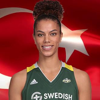 Alysha Clark in front of Turkish flag